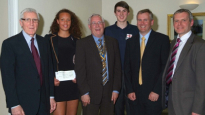 Photo (from the left): Geoff Waller representing SportsAid in the East Midlands; SportsAid athlete Freya Christie; president of the Mansfield Rotary Club, Paul Bacon; SportsAid athlete Ieuan Lamb; Ian Baggaley representing the Armchair Club of Mansfield; and SportsAid alumnus Bryan Steel, Olympic silver medal winning cyclist (Athens, 2004).