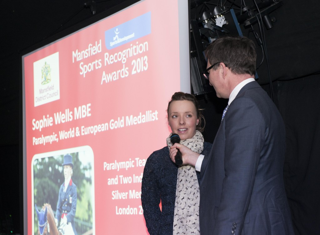 Sophie Wells, MBE, Paralympic World & European Gold Medallist being interviewed by Mark Shardlow